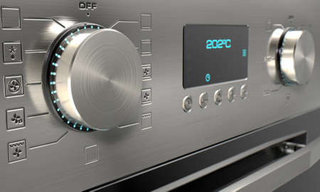 convection: A 3D render of a closeup of the dials of a modern stainless steel oven with illuminated lights and a digital screen Stock Photo