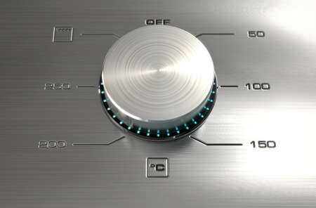adjust: A 3D render of a closeup of the dials of a modern stainless steel oven with illuminated lights and a digital screen Stock Photo