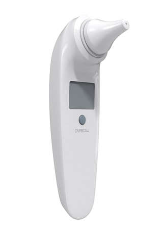 A 3D render of an infant ear infrared thermometer on an isolated white background