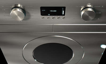 space age: A 3D render of a closeup of the dials of a modern stainless steel washing machine with illuminated lights and a digital screen