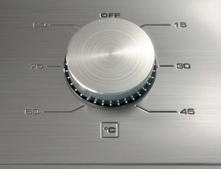 dials: A 3D render of a closeup of the dials of a modern stainless steel washing machine with illuminated lights and a digital screen