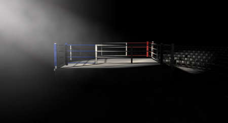 dramatically: A 3D render of a modern boxing ring with a blue and red area spotlit dramatically on one corner on an isolated dark background