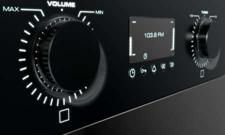 dials: A 3D render closeup of the front face of a modern black radio with illuminated dials and a digital screen