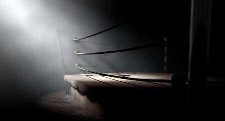 dramatically: A 3D render of an old vintage boxing ring surrounded by ropes spotlit dramatically on one corner on an isolated dark background