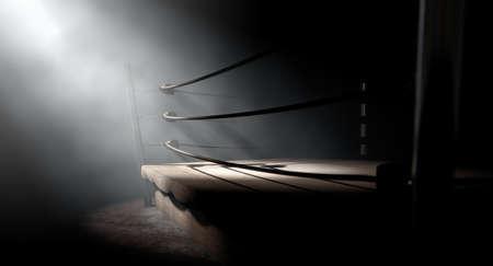 Eine 3D-Darstellung von einem alten Boxring Jahrgang von Seilen umgeben spotlit dramatisch an einer Ecke auf einem isolierten dunklen Hintergrund Standard-Bild