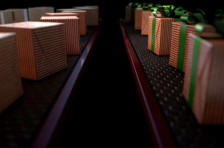 conveyor belts: A 3D render of a production line of christmas gift boxes in varying stages of wrapping on conveyor belts on isolated dark backgrounds