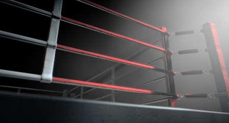 Eine 3D-Darstellung von einem modernen Boxring mit einem blauen und roten Bereich spotlit dramatisch an einer Ecke auf einem isolierten dunklen Hintergrund