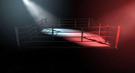 Eine 3D-Darstellung von einem modernen Boxring Konzept mit gegenüberliegenden Ecken spotlit in kontras widersprüchliche Farben auf einem dunklen Hintergrund