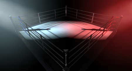 conflicting: A 3D render of a modern boxing ring concept with opposing corners spotlit in contrasting conflicting colors on a dark background