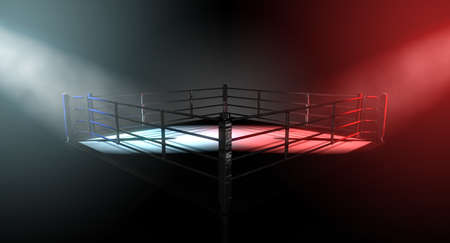 Una representación 3D de un concepto moderno ring de boxeo con las esquinas opuestas spotlit en colores contrastantes en conflicto sobre un fondo oscuro