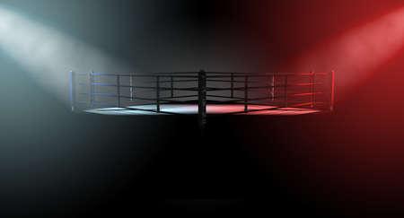 Una representación 3D de un concepto moderno ring de boxeo con las esquinas opuestas spotlit en colores contrastantes en conflicto sobre un fondo oscuro Foto de archivo