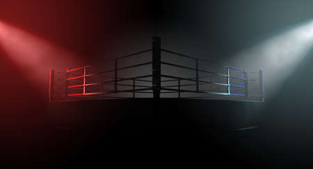 contrasting: A 3D render of a modern boxing ring concept with opposing corners spotlit in contrasting conflicting colors on a dark background