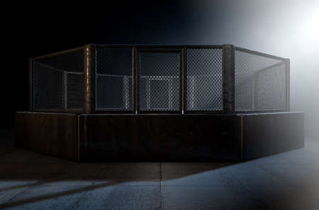 spotlit: A 3D render of an MMA fight cage arena dressed in black padding spotlit by a single light on an isolated dark background Stock Photo