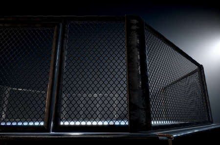 A 3D render of an MMA fight cage arena dressed in black padding spotlit by a single light on an isolated dark background