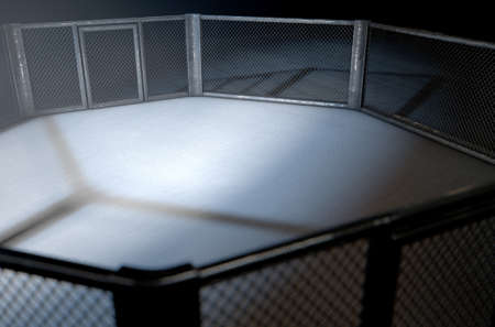 padding: A 3D render of an MMA fight cage arena dressed in black padding spotlit by a single light on an isolated dark background Stock Photo
