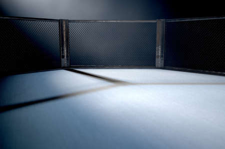 A 3D render of an MMA fight cage arena dressed in black padding spotlit by a single light on an isolated dark background Stockfoto