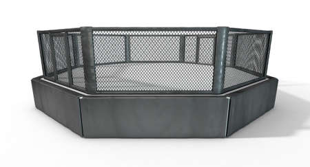 spotlit: A 3D render of an MMA fight cage arena dressed in black padding on an isolated white studio background