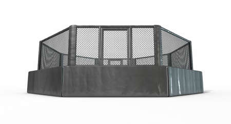 indoor sport: A 3D render of an MMA fight cage arena dressed in black padding on an isolated white studio background