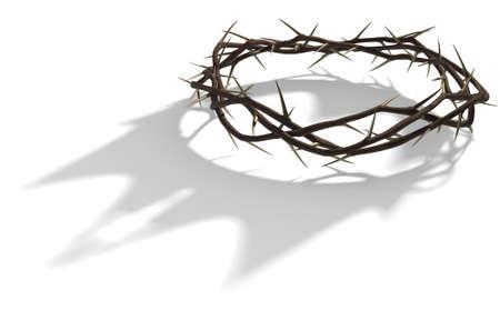 Una representación 3D concepto de ramas de espinos entretejidos en una corona que representa la crucifixión proyectando una sombra de una corona real sobre fondo blanco aislado Foto de archivo - 68757780