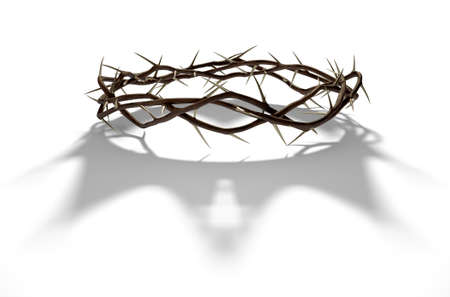 A 3D render concept of branches of thorns woven into a crown depicting the crucifixion casting a shadow of a royal crown on isolated white background