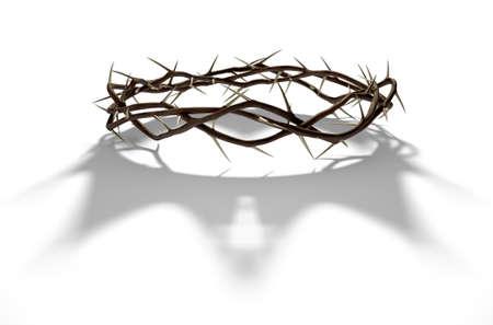 Un rendu 3D concept de branches d'épines tissées dans une couronne représentant la crucifixion jetant une ombre d'une couronne royale sur fond blanc isolé