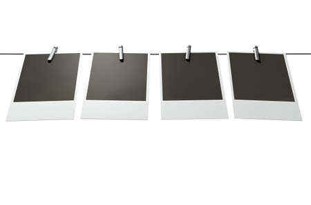 affix: A 3D render of a gallery of four blank instant photographs pegged onto a steel cable on an isolated background