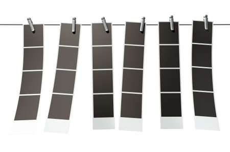 affix: A 3D render of a gallery of six strips of blank photos from an instant photo booth pegged onto a steel cable on an isolated background Stock Photo