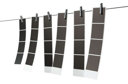 photo frame: A 3D render of a gallery of six strips of blank photos from an instant photo booth pegged onto a steel cable on an isolated background Stock Photo