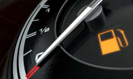 A 3D render of an extreme closeup of a gas gage showing the needle at empty with an illuminated light indicating so