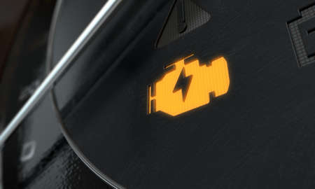A 3D render of an extreme closeup of an illuminated check engine dashboard light on an dashboard panel background