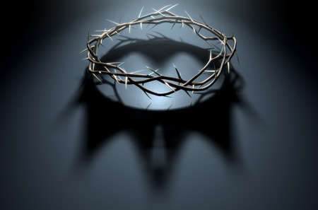 A 3D render concept of branches of thorns woven into a crown depicting the crucifixion casting a shadow of a royal crown on a dark background Stockfoto