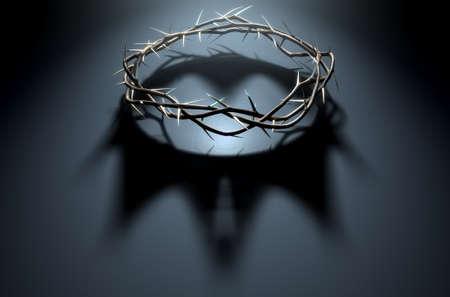Un rendu 3D concept de branches d'épines tissées dans une couronne représentant la crucifixion jetant une ombre d'une couronne royale sur un fond sombre