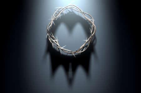 Ein 3D-Render-Konzept der Filialen von Dornen in eine Krone gewebt Darstellung der Kreuzigung ein Schatten einer Königskrone auf einem dunklen Hintergrund Gießen