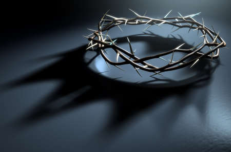 A 3D render concept of branches of thorns woven into a crown depicting the crucifixion casting a shadow of a royal crown on a dark background Archivio Fotografico