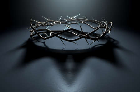 A 3D render concept of branches of thorns woven into a crown depicting the crucifixion casting a shadow of a royal crown on a dark background Stock Photo