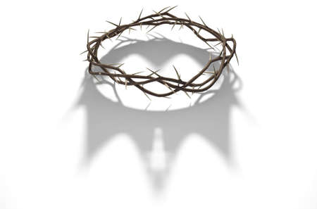 Een 3D render concept van de takken van doornen geweven in een kroon die de kruisiging werpt een schaduw van een koninklijke kroon op geïsoleerde witte achtergrond