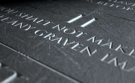 etched: A 3D render of closeup of the ten commandments etched in a stone tablet highlighting the second