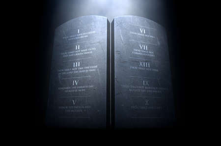 A 3D render of two stone tablets with the ten commandments etched on them lit by a dramatic spotlight on a dark background