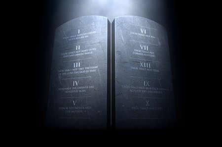Una representación 3D de dos tablas de piedra con los diez mandamientos grabados en ellas iluminadas por una luz dramática sobre un fondo oscuro Foto de archivo - 68757822