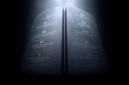 Una representación 3D de dos tablas de piedra con los diez mandamientos grabados en ellas iluminadas por una luz dramática sobre un fondo oscuro Foto de archivo - 68757825