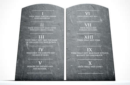 A 3D render of two stone tablets with the ten commandments etched on them on an isolated white background Stock Photo