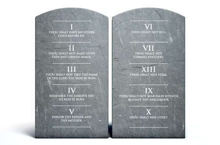 A 3D render of two stone tablets with the ten commandments etched on them on an isolated white background Stockfoto