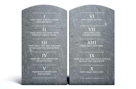 Eine 3D-Darstellung von zwei Steintafeln mit den zehn Geboten auf sie auf einem isolierten weißen Hintergrund geätzt Standard-Bild - 68757827