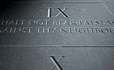 ninth: A 3D render of closeup of the ten commandments etched in a stone tablet highlighting the ninth