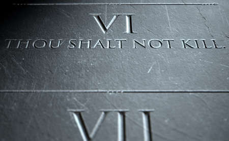 highlighting: A 3D render of closeup of the ten commandments etched in a stone tablet highlighting the sixth