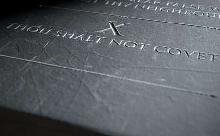 ten commandments: A 3D render of closeup of the ten commandments etched in a stone tablet highlighting the tenth