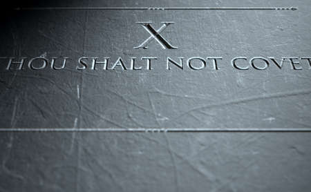 highlighting: A 3D render of closeup of the ten commandments etched in a stone tablet highlighting the tenth