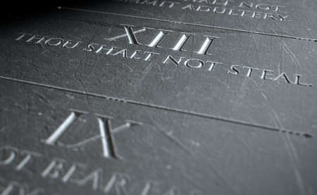 highlighting: A 3D render of closeup of the ten commandments etched in a stone tablet highlighting the eighth