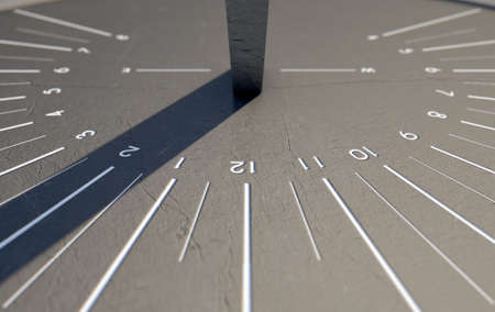sleek: A 3D render of a sleek modern sundial clock made of stone with white markings on an isolated white studio background Stock Photo