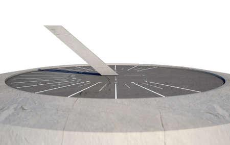 reloj de sol: Una representación 3D de un reloj moderno y elegante reloj de sol de piedra con las marcas blancas en un aislado fondo blanco del estudio